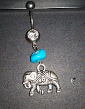 10mm Stainless Steel Elephant Dangle Navel Belly Bar Turquoise Stone NEW!!!!