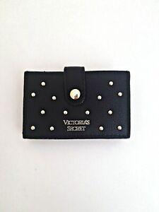 Victoria's Secret faux leather Black studded accordion Card Case Holder Wallet