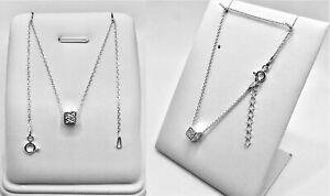 Halskette & Armband Set- WÜRFEL 45 und 17+3 cm Echt 925er.Sterling Silber   PR31
