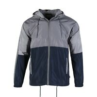 Men's Hooded Full Zip Lightweight Windbreaker Outwear Sports Jacket Grey Navy