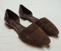 Report Signature D'Orsay Flats Shoes Brown Leather Womens size 7.5