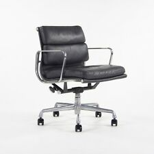 Eames Herman Miller Soft Pad Low Aluminum Group Chair Black Leather 2000's 4x