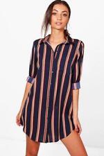 NEW - Boohoo - Tall Sarai Printed Shirt Dress - Navy - RRP $35.00