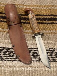 Vintage 1940's Western USA G46-5 Stag W/Bakelite Pommel  Fighting Knife W/Sheath