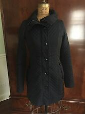 BURBERRY LONDON women quilted Navy Blue  jacket Size US 02  No Belt