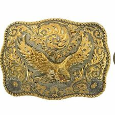 Plate Eagle Engraved Large Buckle Rodeo Sterling Silver 22K Gold