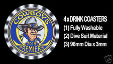 4 x COWBOYS 2015 PREMIERS FOOTBALL RUGBY LEAGUE DRINK COASTERS - Fully Washable