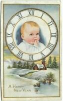 """Antique Post Card c. 1900 """" A HAPPY NEW YEAR """"  New Year Baby Clock"""