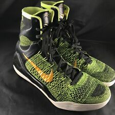 Nike Kobe 9 IX Elite Flyknit Victory Green Gold Size 12 630847-077 jordan bhm