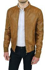 Giubbotto uomo casual beige cammello ecopelle slim fit giacca chiodo da L a 3XL
