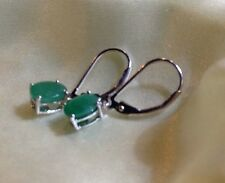 1.5 Ct, Zambian, Emerald Earrings, Lever Back, Platinum On Sterling Silver