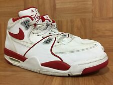 RARE🔥 Nike Air Flight '89 White Leather Varsity Red Retro Size 12 306252-105
