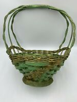 Primitive Woven Basket Tall Handle Green Paint Gold Antique Vintage Easter