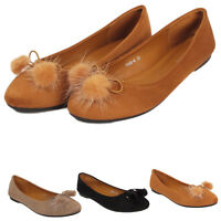 Women Pom Pom Flat Loafers Casual Work Pumps Ladies Ballerina Ballet Shoes size