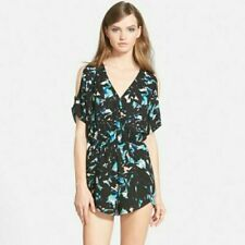 ASTR the Label women M cold shoulder surplice romper 3/4 sleeve