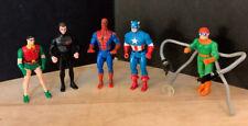 1990 Superheros Spider-Man, Capt America, Dr Octopus, Batman & Robin Marvel -DC