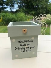 Personalised Shabby Flower Pot Chic TEACHER THANK YOU School Helper Assistant