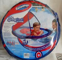 New Swimways Baby Spring Float Sun Canopy Ages 9-24 M Blue/Red Infant Toddler