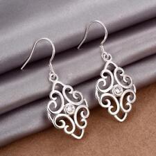 Womens Sterling Silver CZ Crystal Filigree 43mm Long Drop Dangle Earrings #EA242