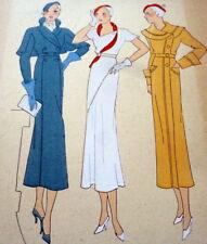 Rare 1930s Art Deco Pochoir Fashion Dress Hand Painted Print Paris Dresses