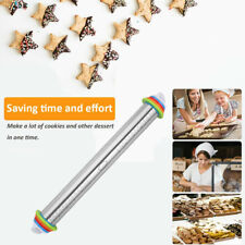 Stainless Steel adjustable Rolling Pin with Thickness Rings for Baking Cookie AU