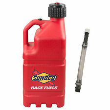 Sunoco Racing Red 5 Gallon Race Gas Alcohol Diesel Can Fuel Jug with Hose Kit