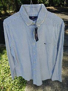 NEW! Men's VINEYARD VINES Classic Fit Blue Bay Oxford Stripe TUCKER Shirt L nwt