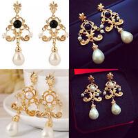 Fashion Gold Plated Pearl Ear Stud Drop Dangle Earrings Women Charm Jewelry Gift