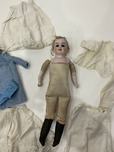 Beautiful Antique Bisque Head / Shoulders And Arms  Doll German , Clothes