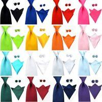 Men Solid Color Satin 8CM Wide Neck Tie Handkerchief Pocket Square Cufflink Set