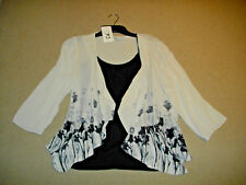 Rockmans: 2 Piece Size: 12. Stylish Beige Print Jacket + Black/Lace Trim Singlet