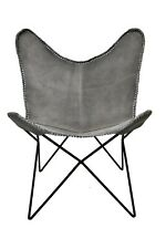 Antique Grey Butterfly Chair Iron Stand and Leather Cover Indoor Outdoor Chair