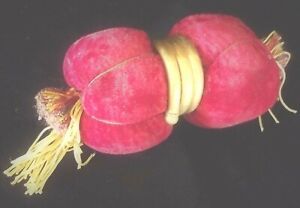 Large Vintage Red Velvet Pin Cushion Bobbin Lace Pillow? Brass Trim Tassel Ends