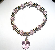 'AAA' GRADE PINK CRYSTAL GLASS BEADED STRETCH HEART CLIP  CHARM BRACELET