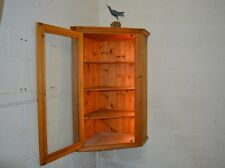 Solid Pine Large Corner Display Cabinet Cupboard With Lights Wall Mounted.