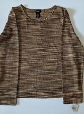 NWT Women's Rafaella Brown Print Long Sleeve Shirt Top Size XL B1