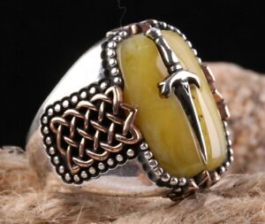 Special Eagle Sword Amber Stone Turkish Handmade 925 Sterling Silver Men Ring US