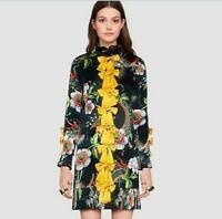 Stylish Women Leisure 100% Silk Floral Bowknot Chiffon Shirt Long Sleeve Dress