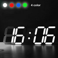 3D Digital LED Table Desk Night Wall Clock Alarm Watch 24 or 12 Hour Display NEW