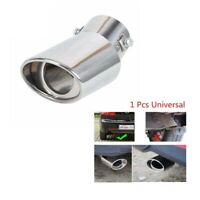 Car Round Silver Stainless Steel Chrome Exhaust Tail Muffler Tip Pipe Universal