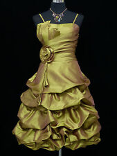 Cherlone Gold Prom Ball Evening Formal Wedding Bridesmaid Dress Size 12-14