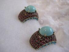 "(Turq./Fuchsia) Clip-On Earrings (Orig.$89.95) Heidi Daus ""Captivating Cabochon"""