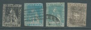 TUSCANY 1860 4 stamps between SG24 and 44 - all close cut.