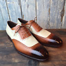 NEW-Handmade Men Two tone wingtip brogue formal shoes, Men lace up dress shoes