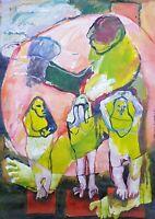 Lysiane D. COSTE peinture acrylique  sur papier painting on paper 29/42 cm 2020
