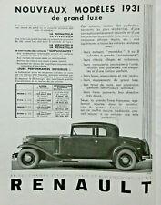 PUBLICITÉ DE PRESSE 1931 VOITURE RENAULT MONASTELLA VIVASTELLA NERVASTELLA REINA