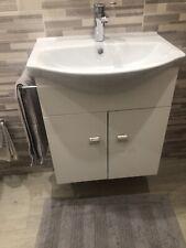 Mobile bagno in legno Bianco Lucido a 2 ante con lavabo e specchio incluso L.56