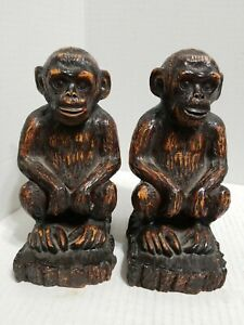 BOOKENDS ~Sitting Monkeys Heavy Resin Bookends