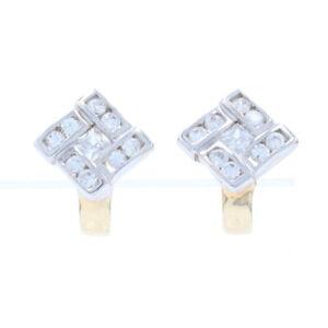 Cubic Zirconia J-Hoop Earrings - 14k Yellow Gold Halo Pierced CZs