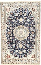 """PERSIAN NAIN Hand Knotted Wool Silk NAVY/IVORY Fine NEW Oriental Rug 5'9"""" X 3'6"""""""
